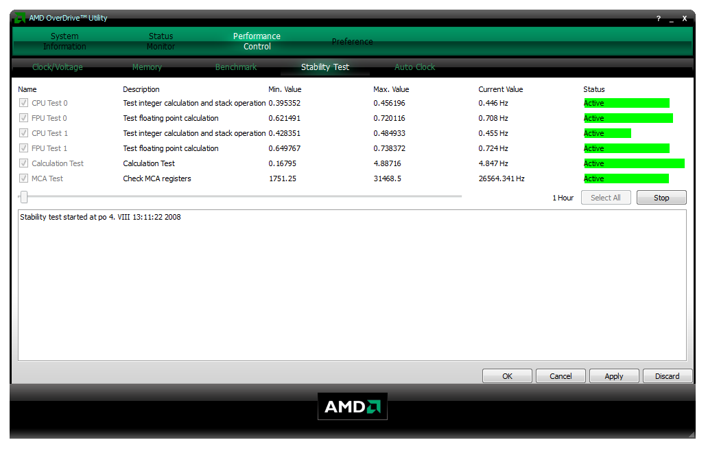 AMD OverDrive - Performance Control - Stability Test