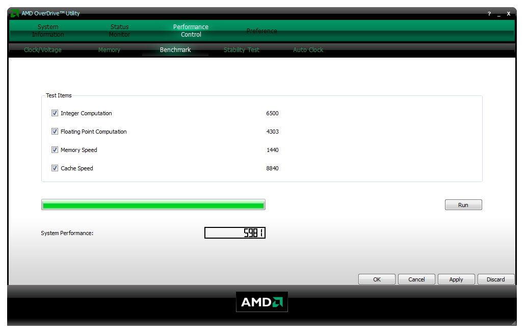AMD OverDrive - Performance Control - Benchmark