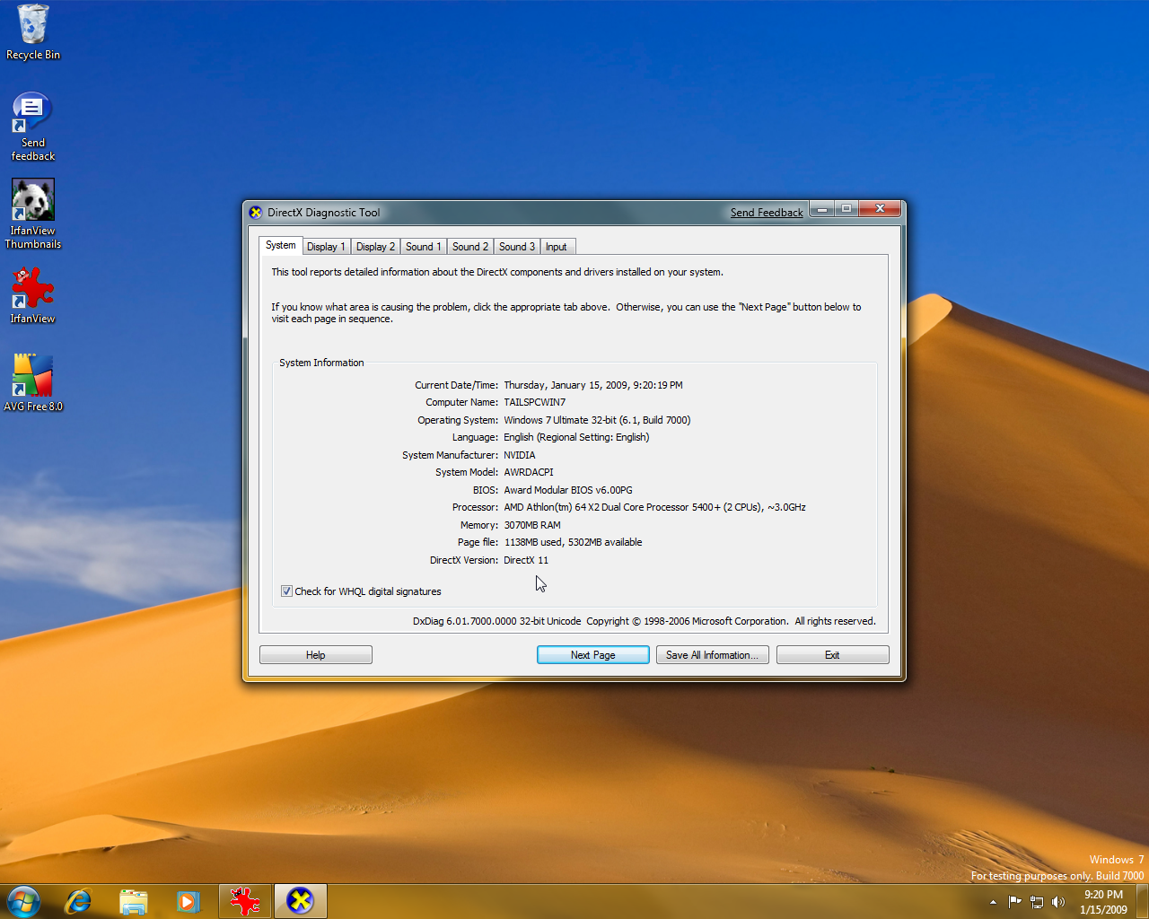 Windows 7 Beta - DXdiag (DirectX 11?) | Screenshots Archive